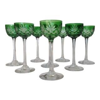 Emerald Green Bohemian Czech Cut Crystal Aperitif Cordials - Set of 8