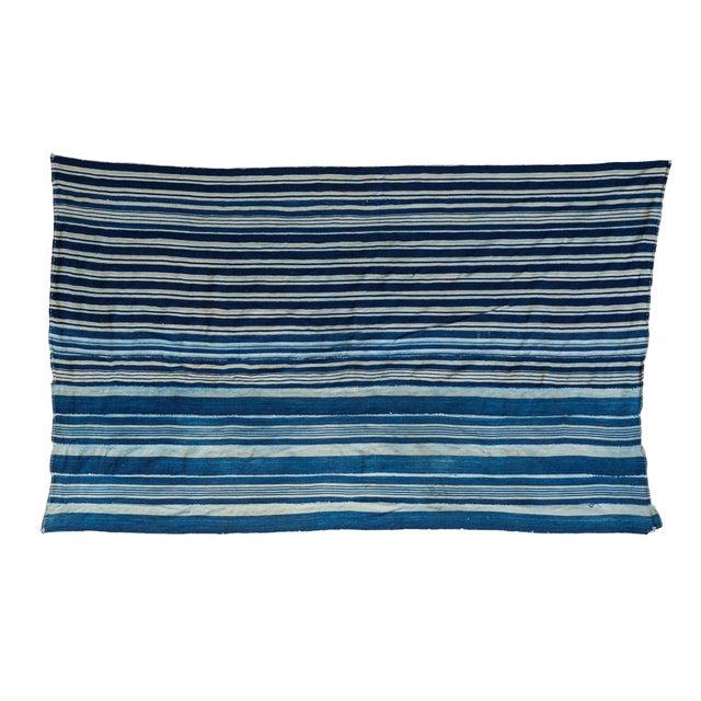 Vintage Hand Woven Indigo Stripe Throw - Image 1 of 7