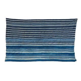 Vintage Hand Woven Indigo Stripe Throw
