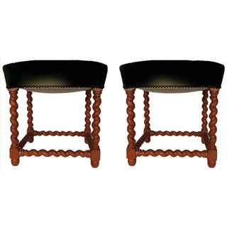 Vintage French Louis XIII Style Stools - A Pair