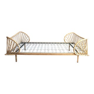 Vintage French Bamboo Rattan Daybed