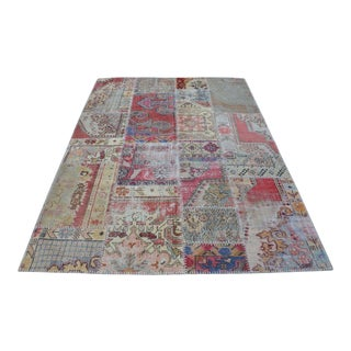 Antique Turkish Handmade Oushak Patchwork Rug - 5′7″ × 7′11″