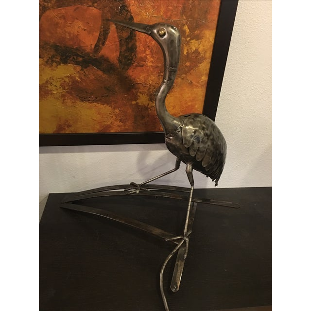 Metal Bird Heron Statue - Image 3 of 5