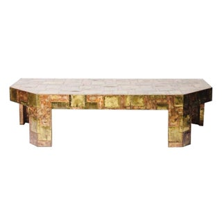 Vintage Cocktail Table Patchwork Brass