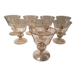 Light Golden Color Stemmed Cocktail Glasses - Set of 8