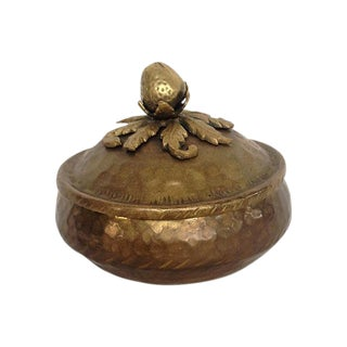 Hammered Brass Box With Strawberry Finial