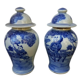 Chinese Hand Painted Ginger Jars