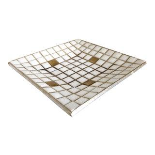 Mid Century Gold & White Mosaic Plate