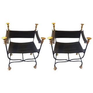 Leather, Iron & Brass Savaranola Chairs - A Pair