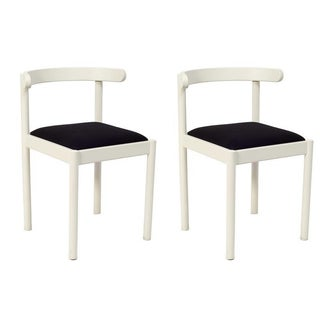 White Wooden Dining Chairs - A Pair