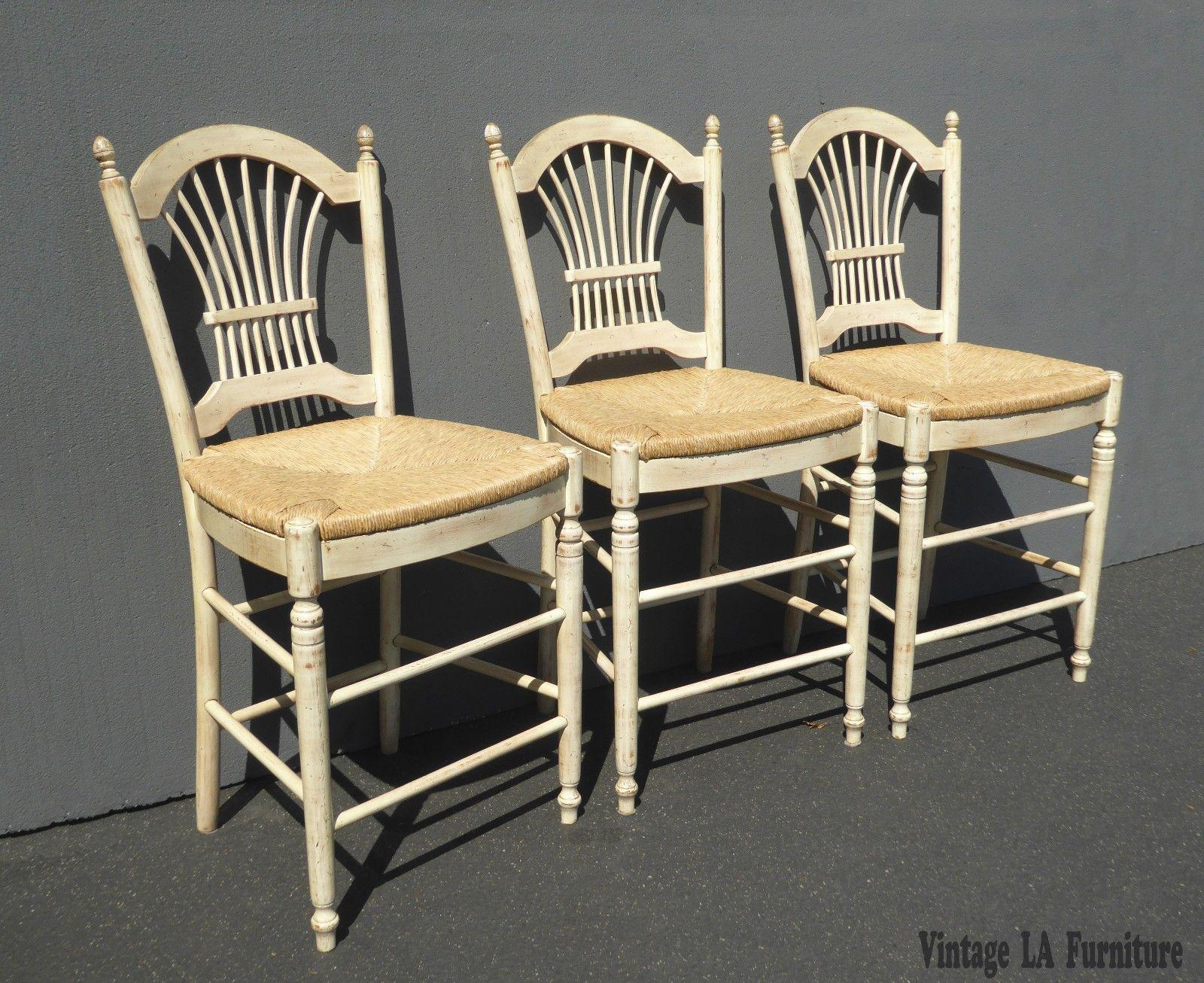 Country Beige Wheat Sheaf Back Rush Bar Stools Set Of 3
