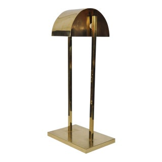 Vintage Mid-Century Modern Brass Desk Table Lamp W/ Half-Moon Swivel Shade Retro