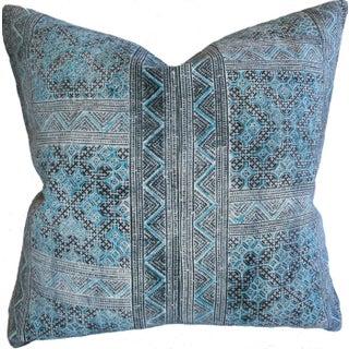 Hmong Batik Pillow in Turquoise