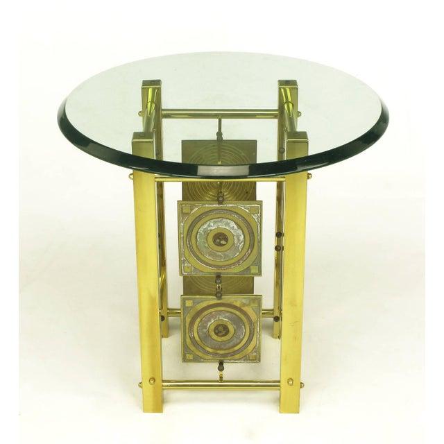 Postmodern Enameled Brass Panel Studio Side Table - Image 2 of 10