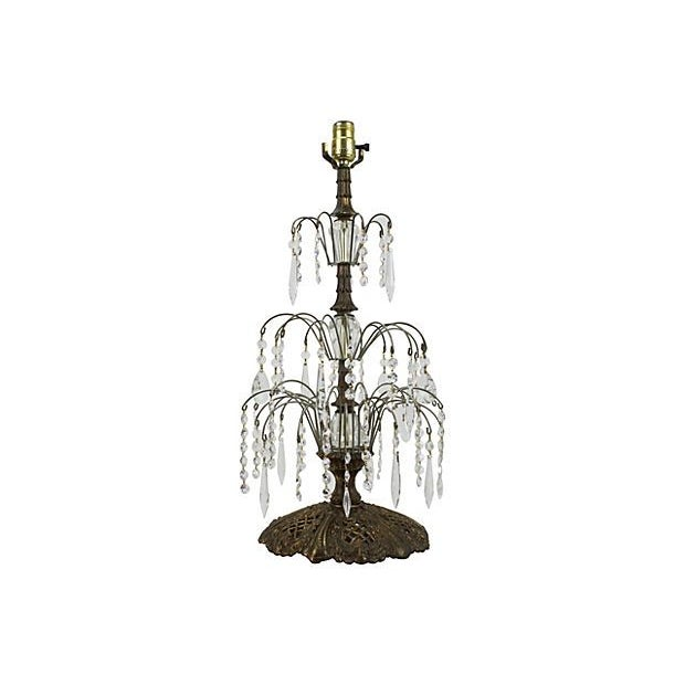 Gilded Metal & Leaded Crystal Table Lamp - Image 1 of 4