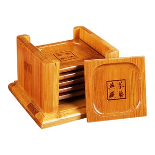 Bamboo Coasters With Holder - Set of 6
