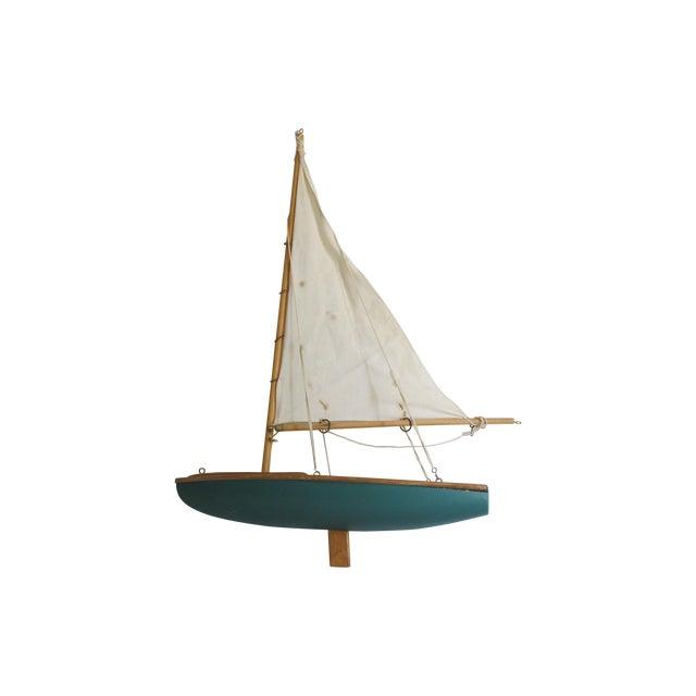 Handmade Wooden Sailboat Model - Image 1 of 3