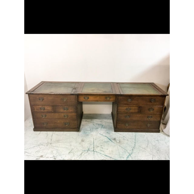 19th-C. English Oak Map Chest Desk - Image 2 of 9