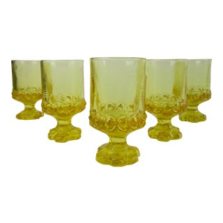 Vintage Yellow Sunflower Juice Glasses - Set of 6