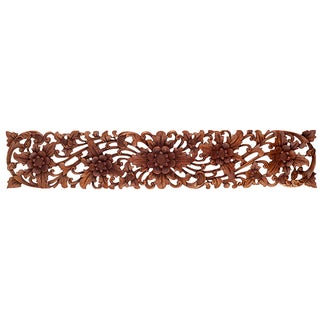Balinese Hand-Carved Floral Wall Panel