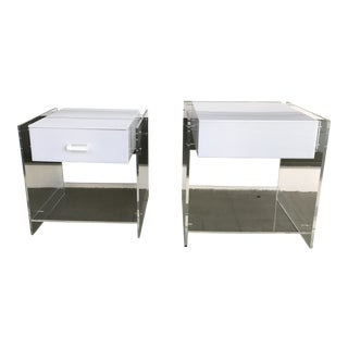 1970s Attributed to Kartell Italian Lucite End Tables - a Pair