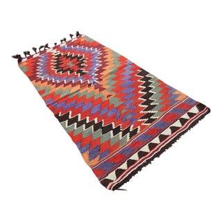 """Mid-20th Century Vintage Turkish Tribal Oushak Handmade Flatwoven Kilim Rug - 2'5"""" X 4'7"""""""