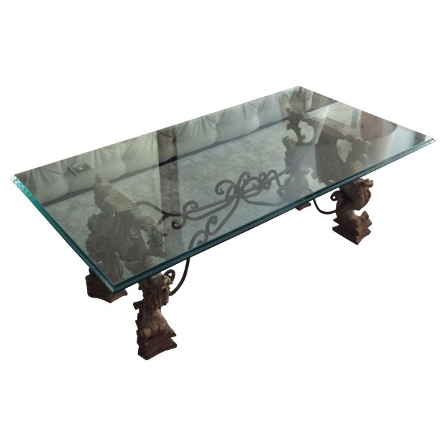 Glass and Carved Wood Coffee Table - Image 1 of 5