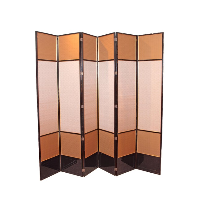Large Neo Classical Six-Panel Black Lacquer and Fabric Screen/Room Divider - Image 11 of 11