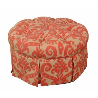 Ikat Upholstered Tufted Large Round Ottoman