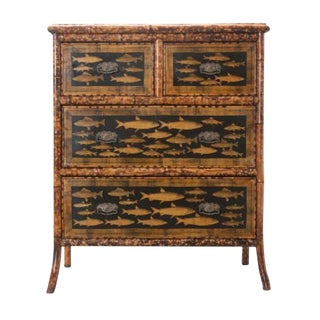 19th Century Victorian Decoupage Fish Bamboo Chest of Drawers