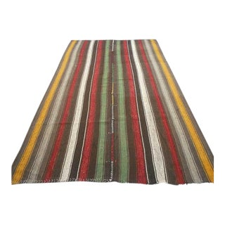 "Handwoven Vintage Colorful Striped Decorative Modern Turkish Kilim Rug - 75"" x 122"""