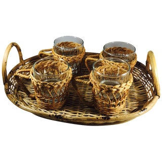 Wicker Rattan Serving Set - Set of 5