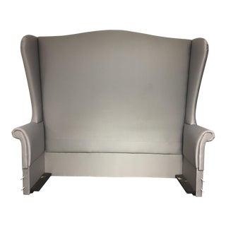 Custom Fully Upholstered Gray Queen Size Bedframe