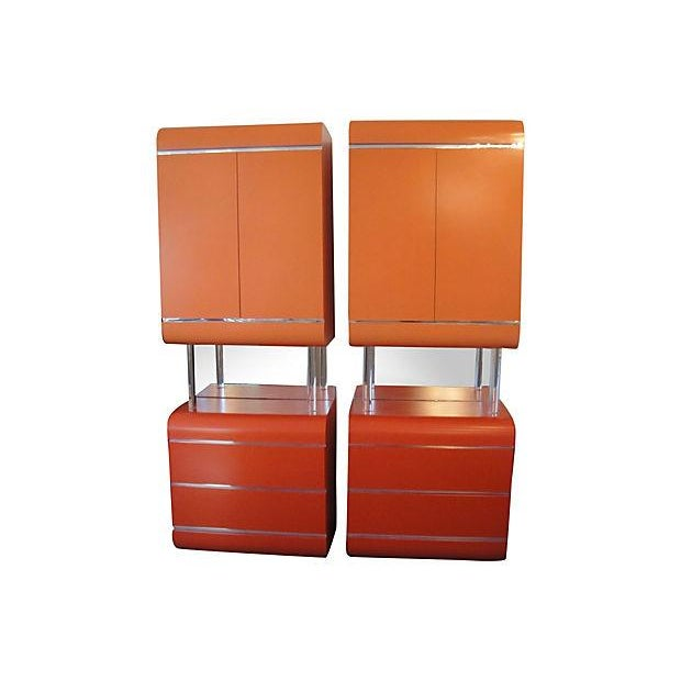 Lighted Wood Cabinets With Lucite and Mirror - 2 - Image 1 of 7