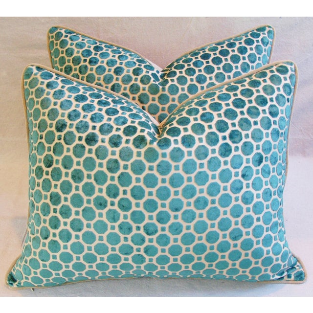 Turquoise Velvet Geometric Pillows- A Pair - Image 2 of 7