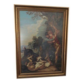 Renaissance Rococo Needlepoint Tapestry Art Fighting Dogs