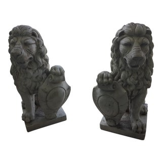 Vintage Sicilian Lions Estate Found Cast Stone Statuary - a Pair