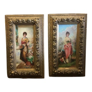 19th Century Paintings of Women by E. Ferroni - a Pair