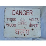 Image of Enamel Beware Electricity Sign