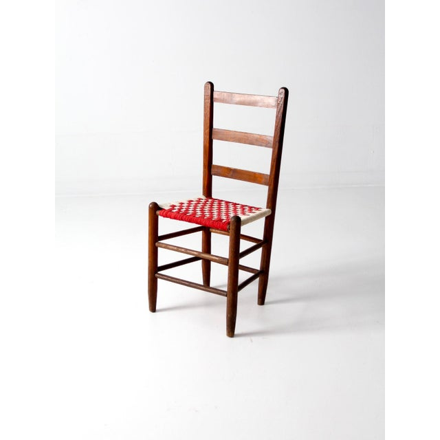 Antique Ladder Back Upholstered Seat Chair - Image 2 of 8