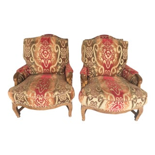 Knuckle Bergere Chairs With Nail Heads - A Pair