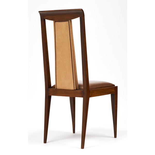 French Art Deco Solid Walnut Dining Chairs- Set of 6 - Image 7 of 11