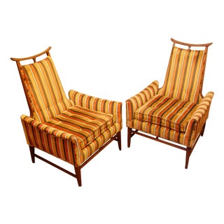 High Back Mid-Century Chairs - A Pair