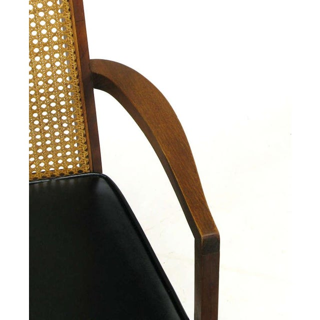 Four Milo Baughman Walnut & Cane Arch-Back Dining Chairs - Image 9 of 9