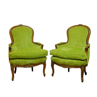 Louis XV Carved Chartreuse Velvet Bergeres - Pair
