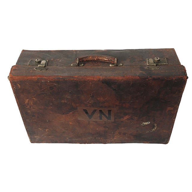 Vintage English Leather Suitcase - Image 1 of 4