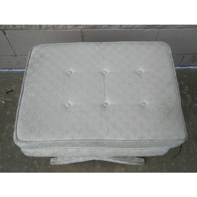 Hollywood Regency Ivory Upholstered X Bench Chairish