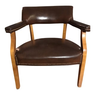 Mid-Century Leather and Wood Office Chair