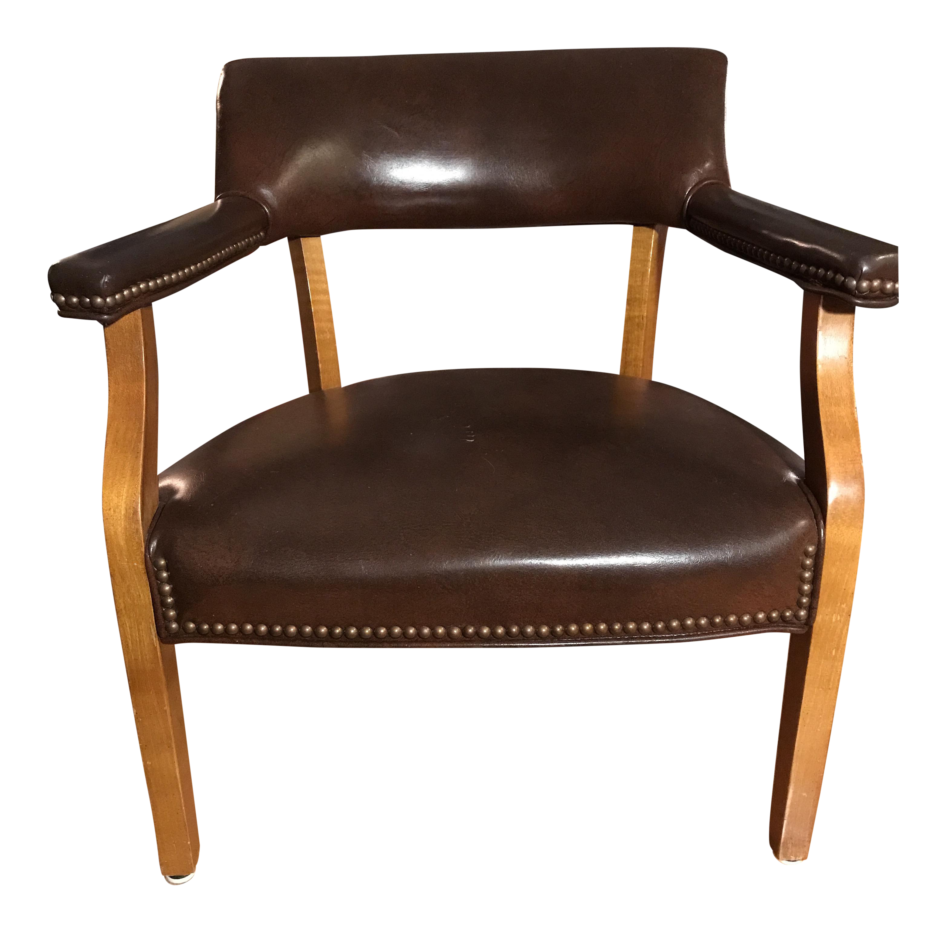 midcentury leather and wood office chair