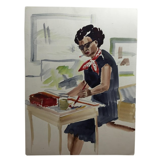 Image of Mid Century Artist Self Portrait Painting